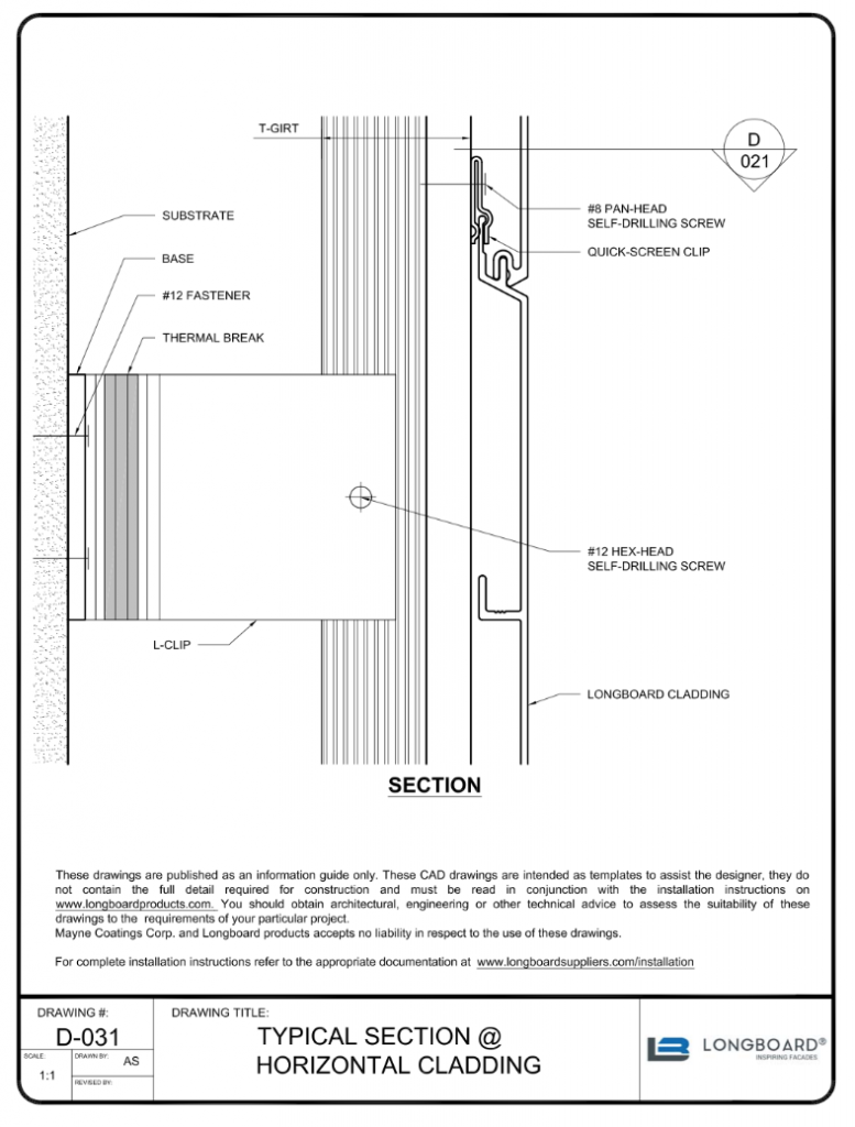 D-031a Typical Section Horizontal 3 inch clip