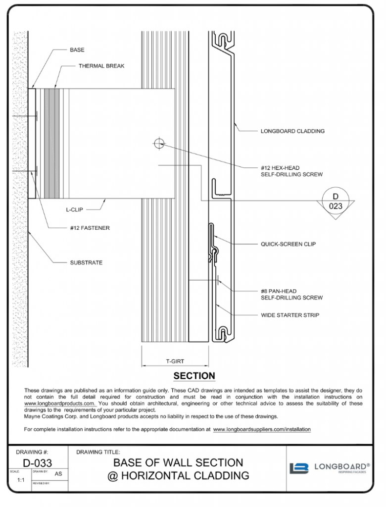 D-033 Base of Wall Section Horizontal