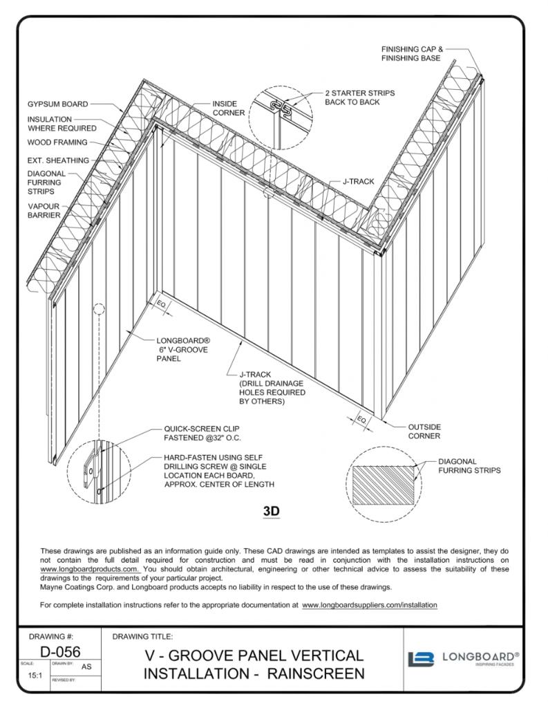 D-056 V Groove Panel Vertical Installation over Furring Strips