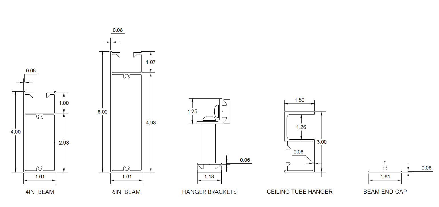 CEILING BEAM PROFILE AND COMPONENTS